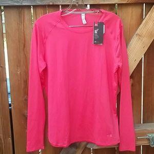 Under Armour heat gear long sleeve top pink nwt xl